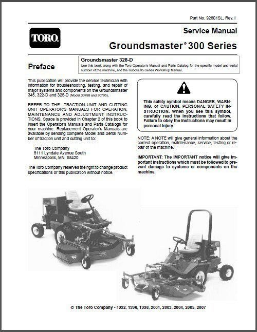 TORO Groundsmaster 345, 322-D & 325-D Rotary Mower Service Manual CD