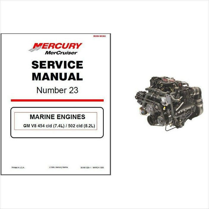 98-01 MerCruiser #23 GM V8 454 cid 7 4L / 502 cid 8 2L Service Repair  Manual CD