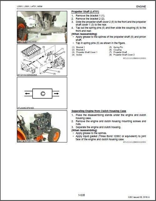 Kubota L3301 L3901 L4701 Tractors WSM Service Manual on a CD