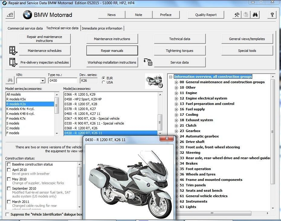 2005 2013 Bmw R 1200 Rt R1200rt K26 Reprom Service Manual On A Dvd