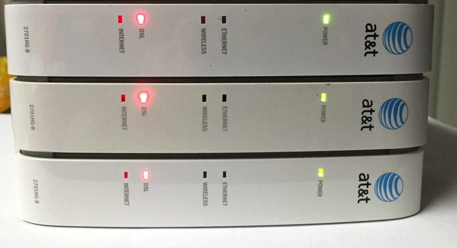 x3 - AT T 2WIRE 2701HG B Gateway WIRELESS modem ROUTER DSL WiFi ...