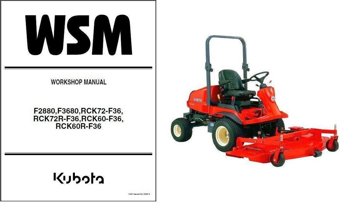 kubota f2880 f3680 rck72 rck60 ride on mower wsm service manual on a rh unisquare com Kubota Engine Manual Kubota RCK60- 29B Blades
