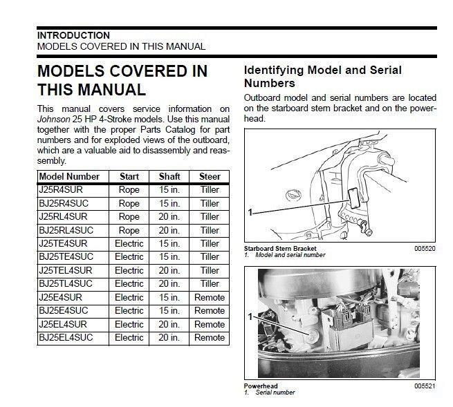 Johnson 25 HP 4-Stroke Outboard Motors Service Manual on a CD