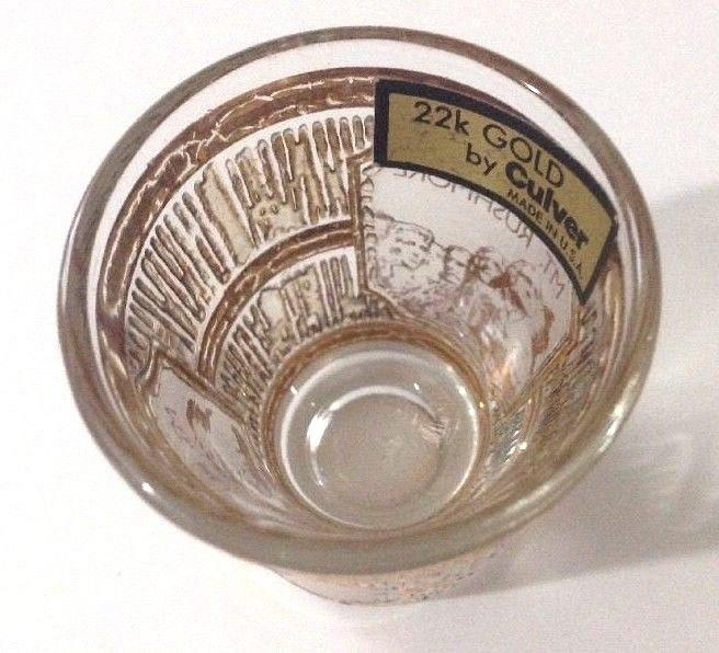 Culver Mt Rushmore 22K Gold Trim Vintage Shot Glass South Dakota Made in USA