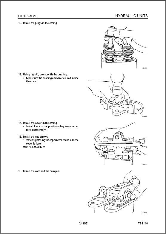 takeuchi tb1140 hydraulic excavator operation maintenance manual download
