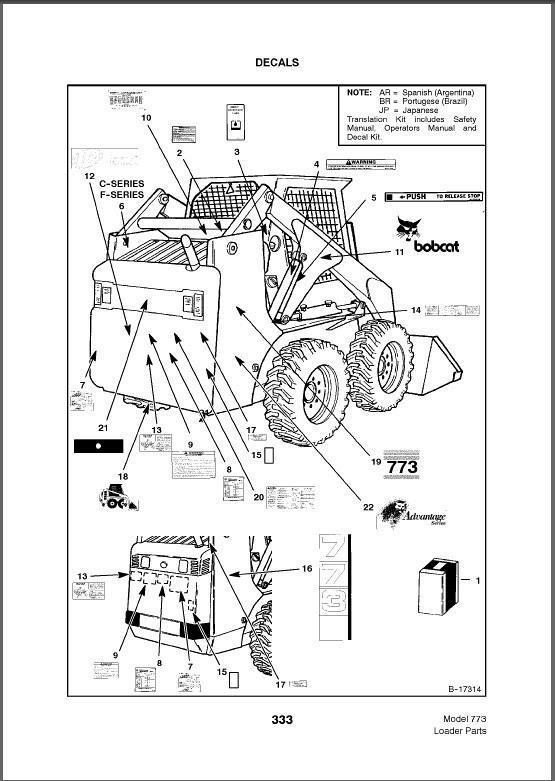 Bobcat 773 Skid Steer Loader Parts Manual On A Cd For Sale