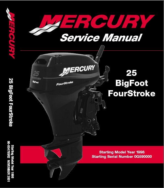 mercury 25 bigfoot 4 stroke outboard motor service manual on a cd rh unisquare com mercury service manual pdf mercury service manual 23