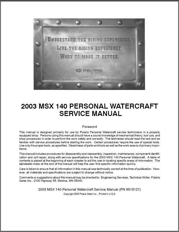 polaris msx 140 personal watercraft pwc service manual on a cd rh unisquare com polaris msx 140 ho service manual polaris msx 140 ho service manual