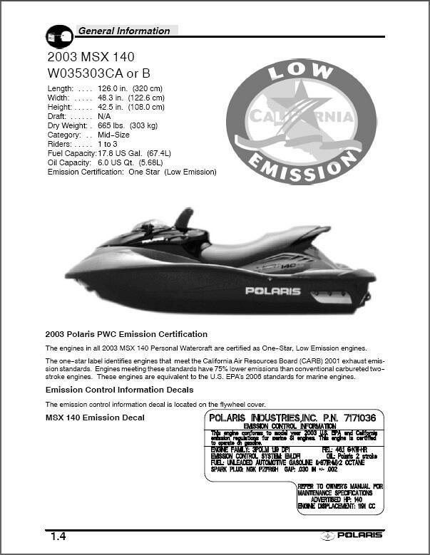 polaris msx 140 personal watercraft pwc service manual on a cd rh unisquare com Polaris MSX 140 Troubleshooting polaris msx 140 owner's manual