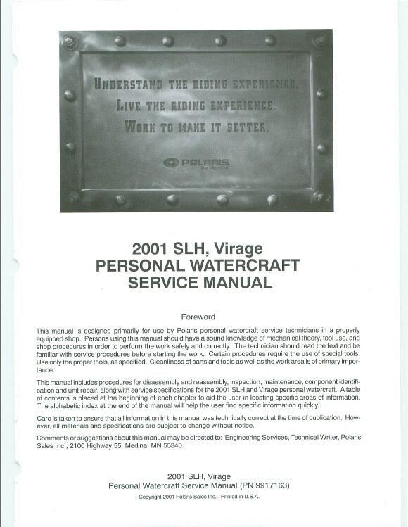 2001 polaris slh virage personal watercraft pwc service manual rh unisquare com 2001 polaris virage 700 owners manual 2001 polaris virage tx service manual