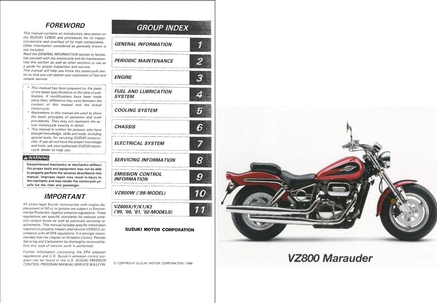 1997-2003 Suzuki VZ800 Marauder 800 Service & Parts Manual on ...