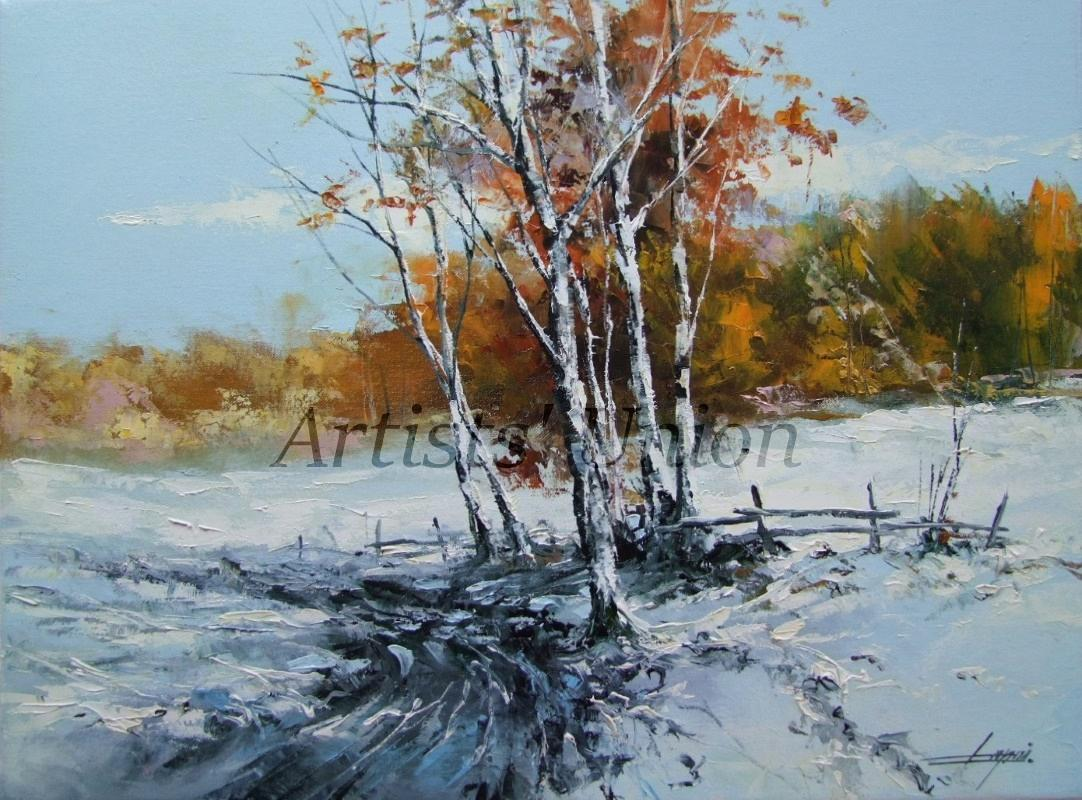 Winter Original Oil Painting Landscape Snow Forest Tree Palette Knife Art Countryside