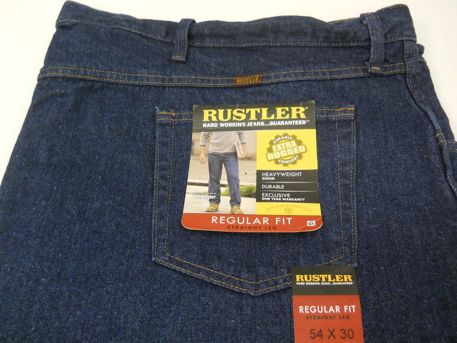 Rustler By Wrangler Men/'s Big /& Tall Regular Fit Straight Leg Black Denim Jeans