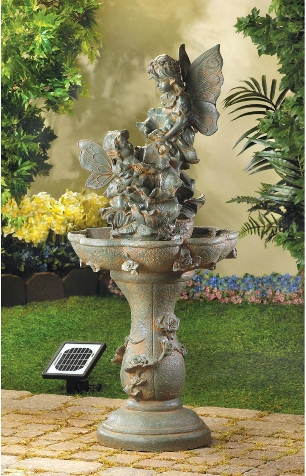 12842u Fairy Figures Stone Look Solar Power Water