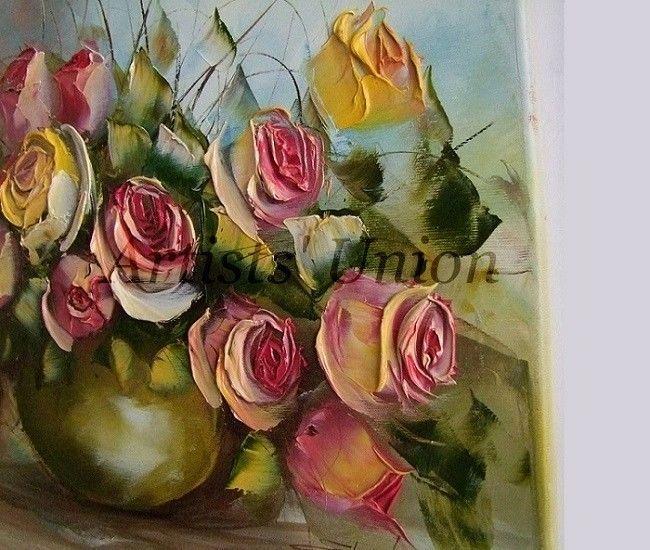 Pink Yellow Roses Original Oil Painting Flowers Bouquet Impasto Art ...