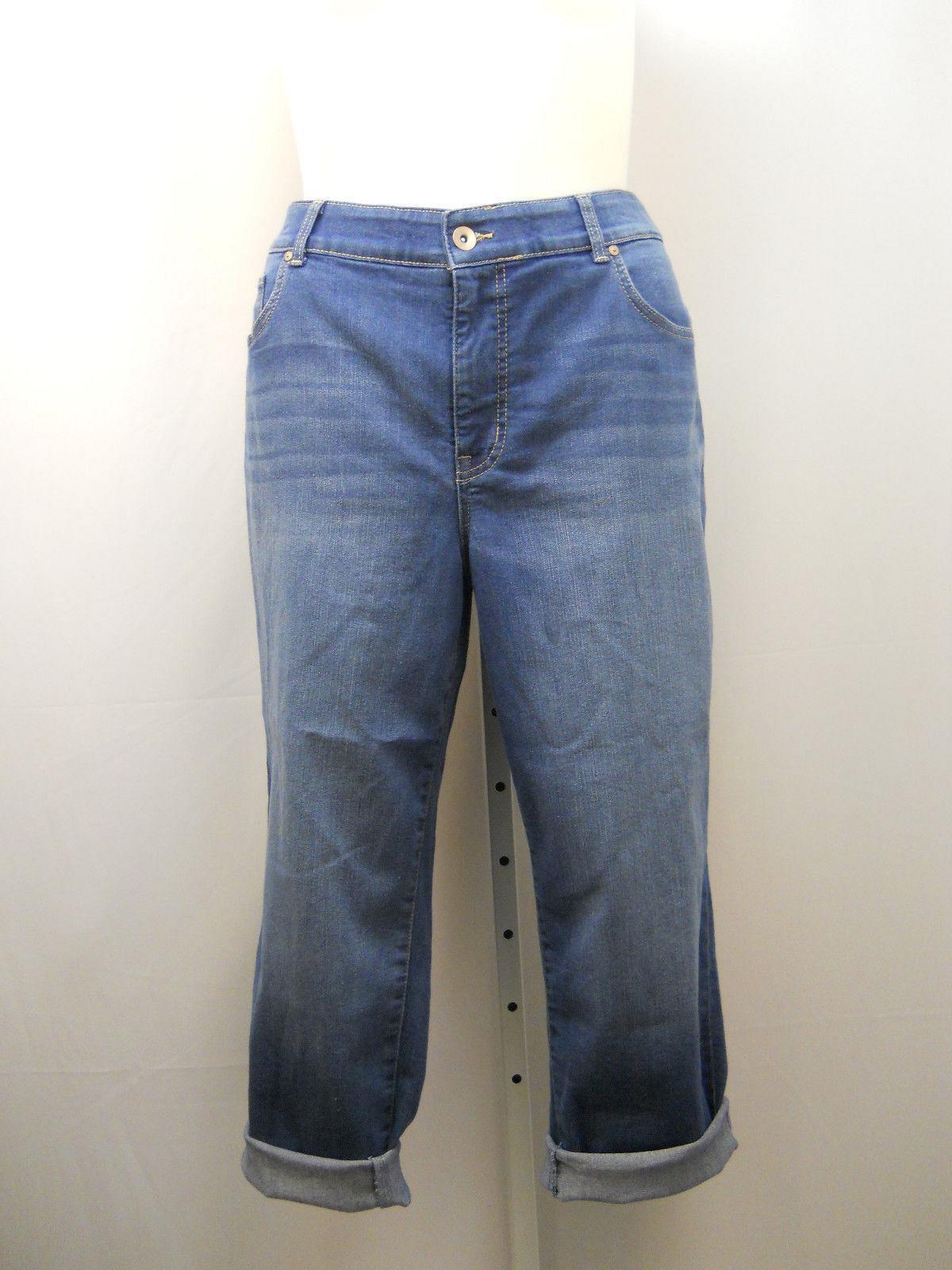 a4fe2f4cc Womens Cropped Boyfriend Jeans PLUS SIZE 20W Medium Dark Wash Inseam 27 For  Sale - Item #1837993