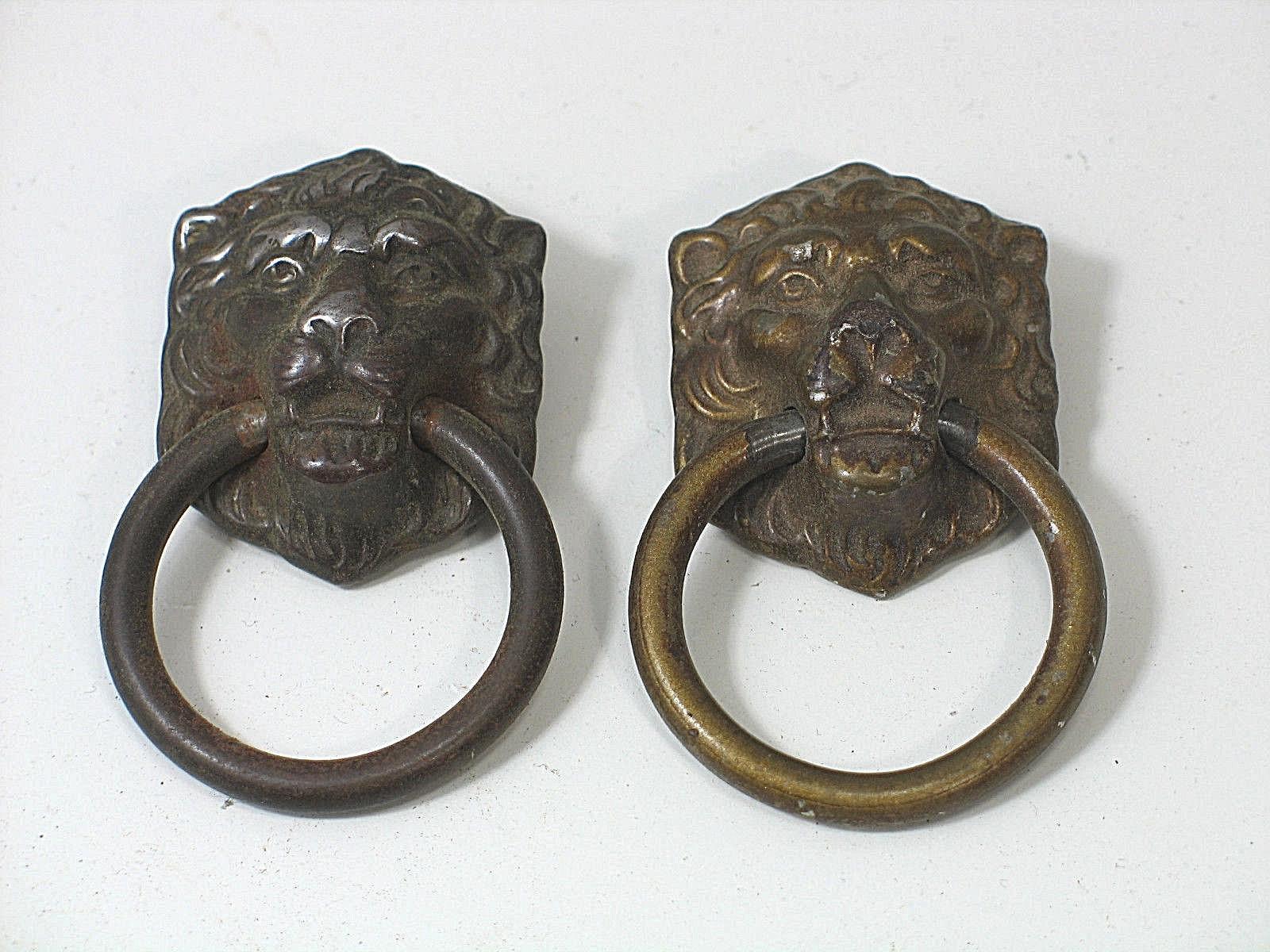 Set Of 2 Antique Lion Head Drawer Pull Furniture Handles Vintage For Item 1863750