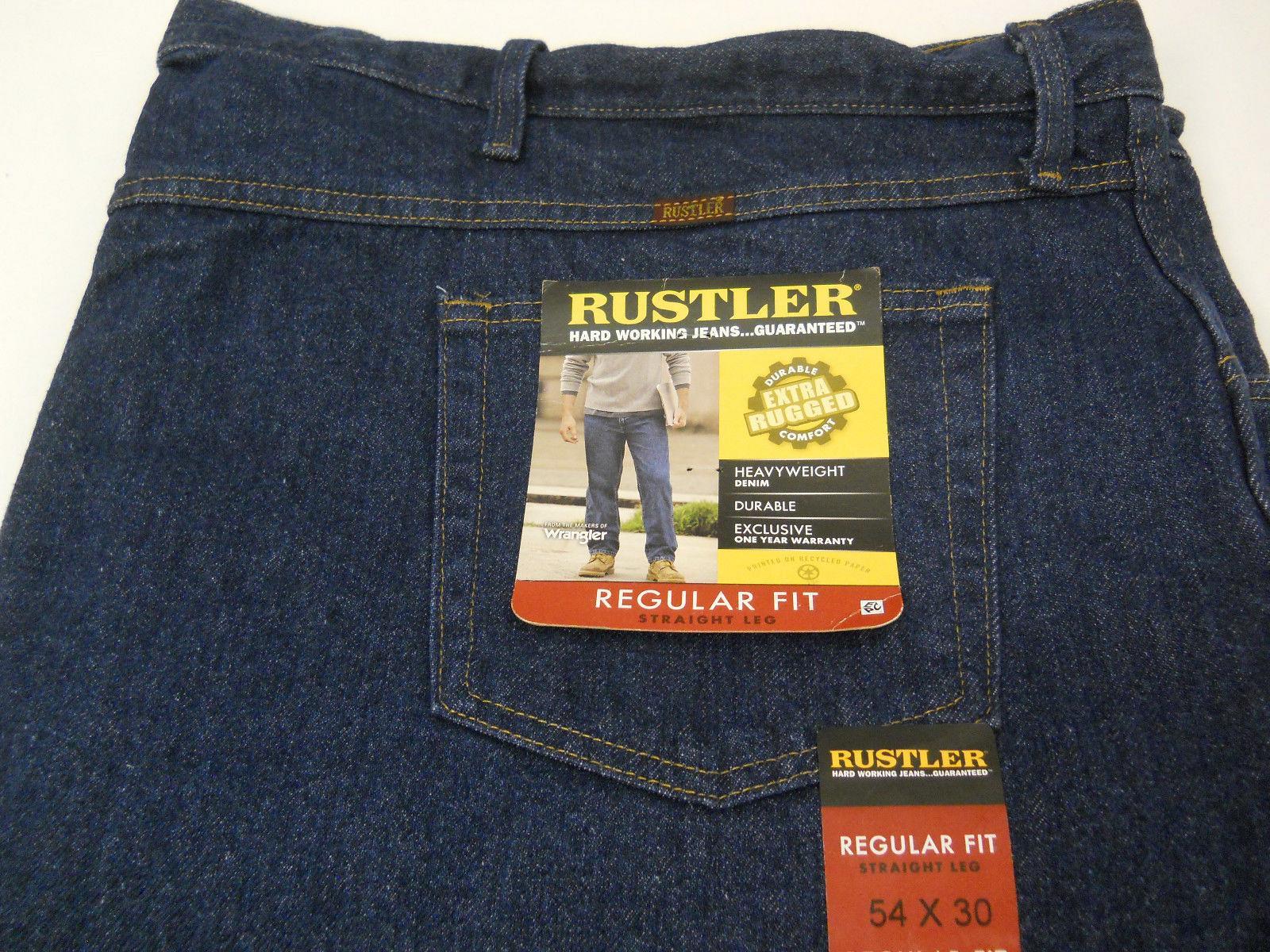 New Rustler by Wrangler Big Men/'s Regular Fit Straight-Leg Jeans All Sizes