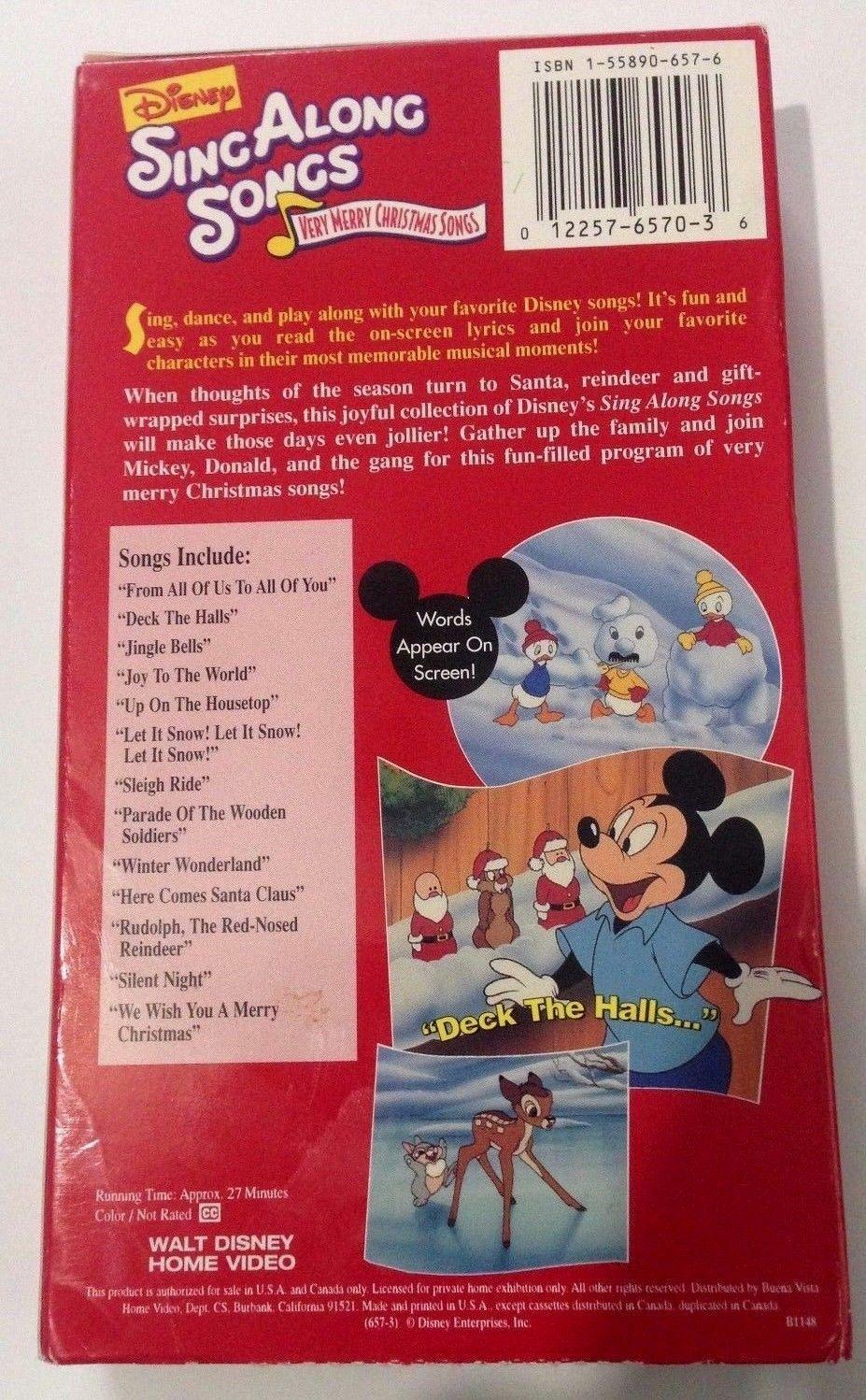 Disney Sing Along Songs Very Merry Christmas VHS Tape Paper Case ...
