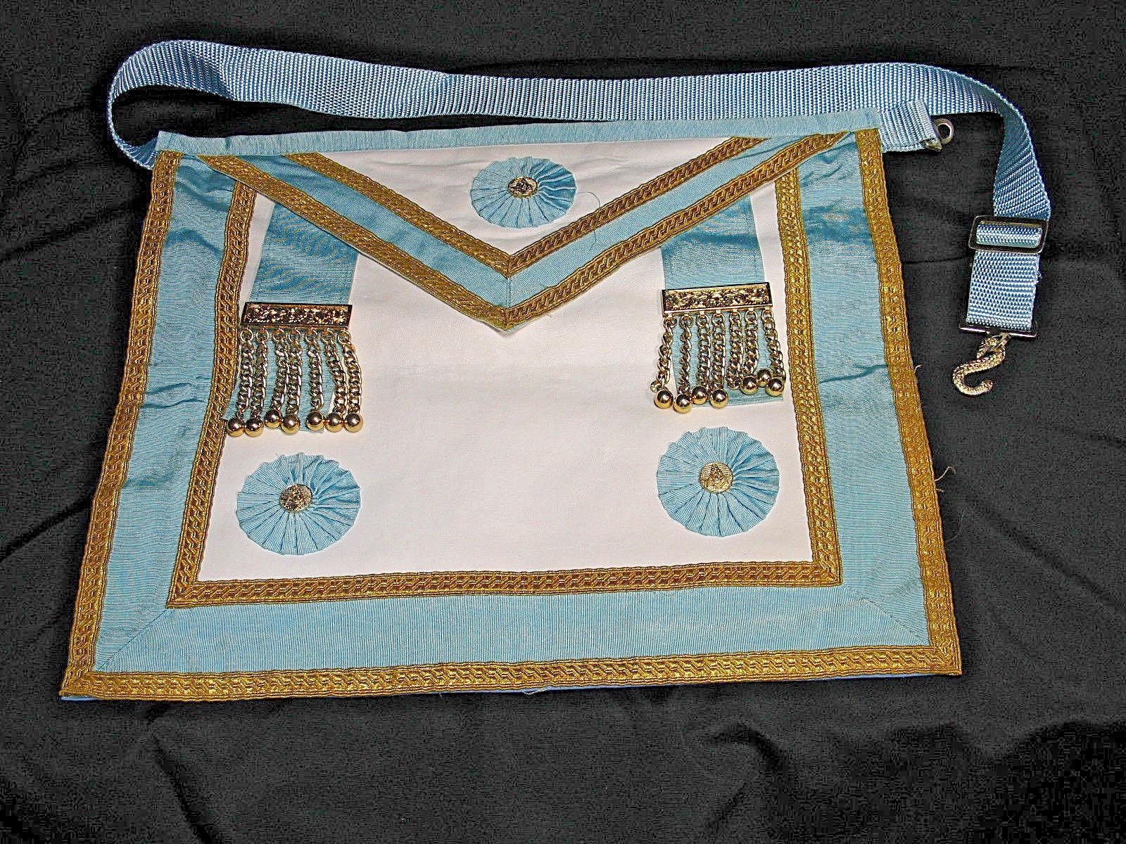 Vintage Masonic Master Mason Apron Regalia Blue White Gold Freemason  Ceremonial