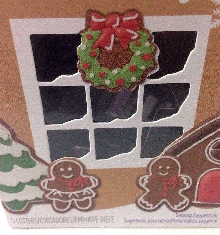 Wilton Christmas Cookie Cutter 5 Piece Set And 2 Snowflake Comfort Grip Cutters