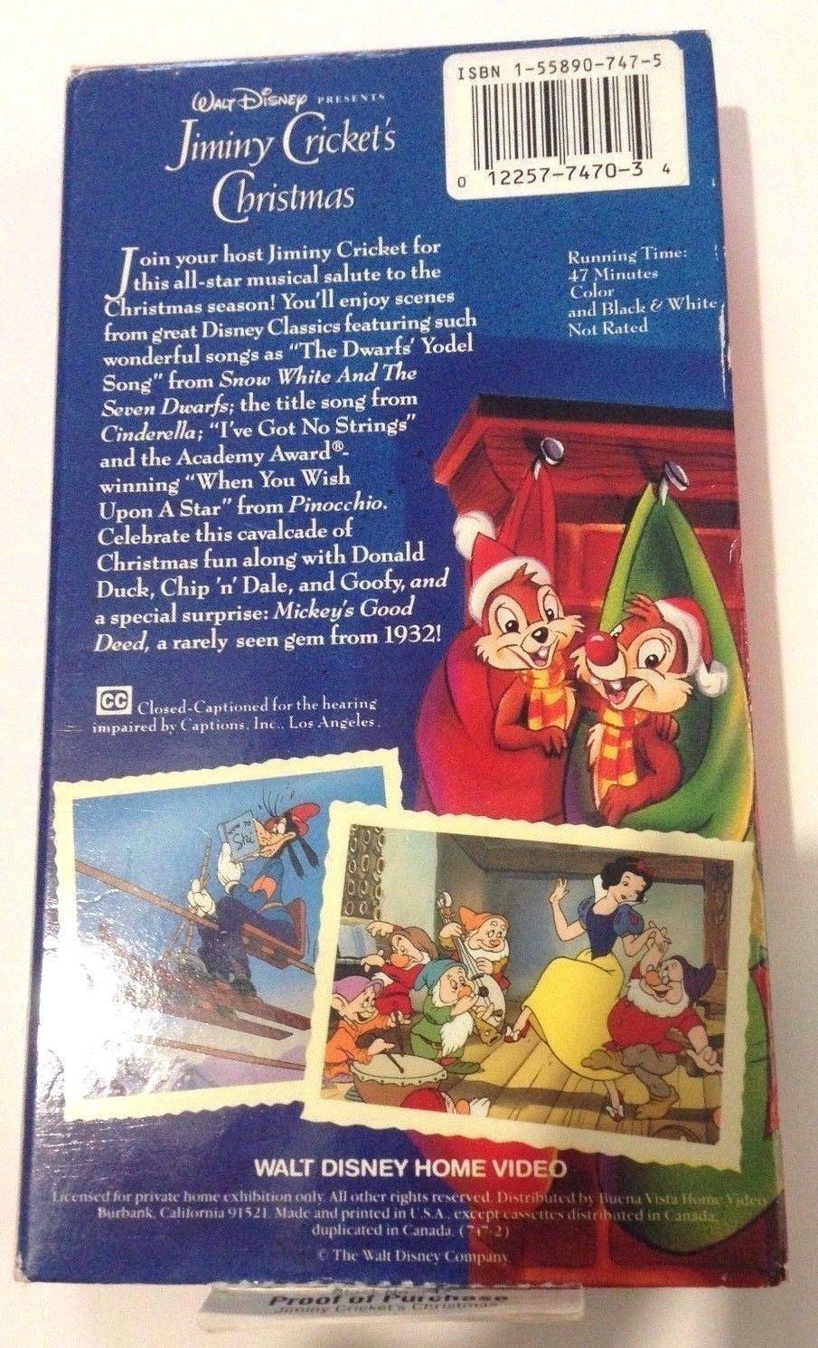 Walt Disney Presents Jiminy Crickets Christmas VHS Tape Holiday ...